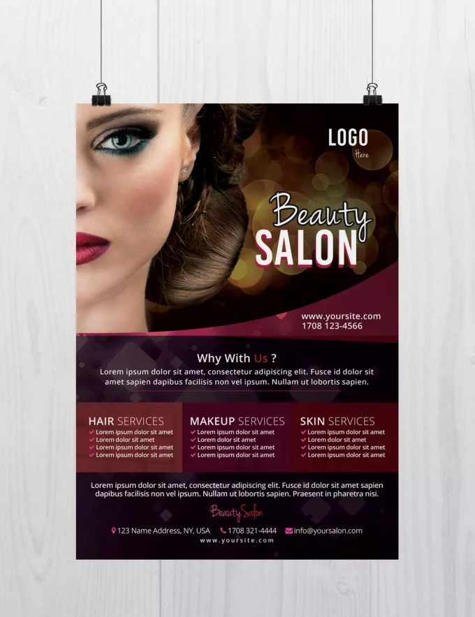 beauty salon - free psd flyer template - free psd flyer