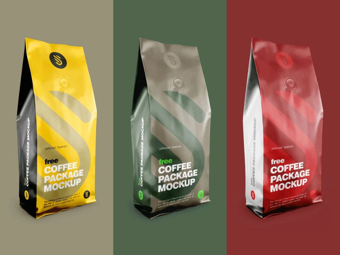 Download Aluminium Coffee Standing Pouch Free Mockup - StockPSD