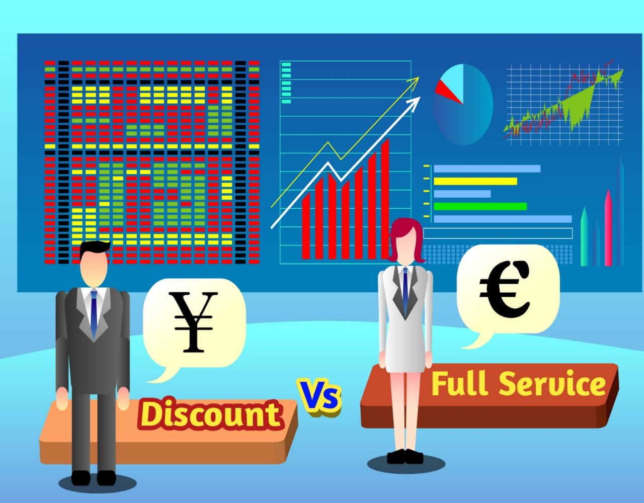 Compare Full service stock broker vs discount stoack broker