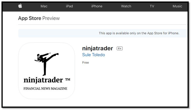 NinjaTrader App in Apple Store