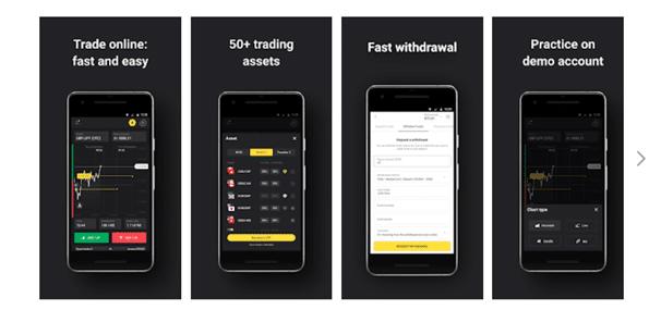 Binomo Mobile App Interface