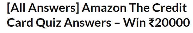 Amazon Credit Card Quiz Offer