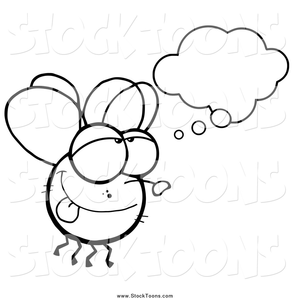 Stock Cartoon Of A Black And White Fly Daydreaming By Hit
