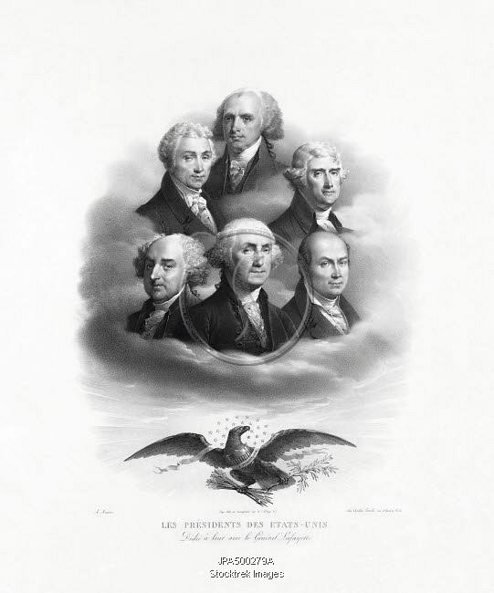 Les Presidents Des Etats Unis : presidents, etats, Portraits, Presidents, George, Washington,, Adams,, Thomas, Jefferson,, James, Madison,, Monroe,, Quincy, Adams., Stocktrek, Images