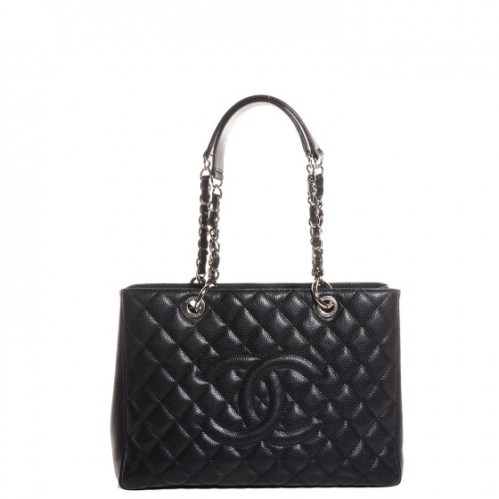 Chanel Grand Shopping Tote Quilted Caviar Silver-tone Black