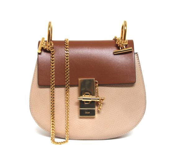 Chloe Drew Shoulder Bag Color Block Mini Brown Multicolor