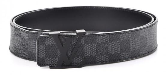 Louis Vuitton Belt Black Lv Logo Buckle Damier Graphite