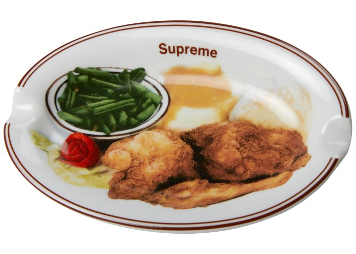 hight resolution of supreme chicken dinner plate ashtray white