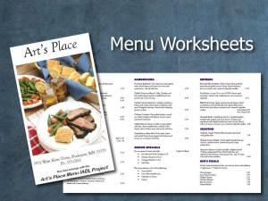 Art's Place Menu Worksheets