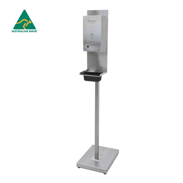 Automatic Hand Sanitiser Dispenser with Lockable Cabinet - Stainless Steel Stand