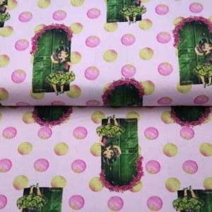 Stenzo Jersey Stoff Tür und Mädchen pink