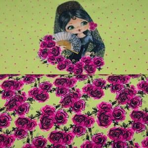 Stenzo Jersey Stoff Blumen lila