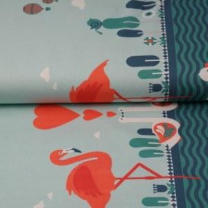 Stenzo Jersey Stoff Flamingo und Herz 2