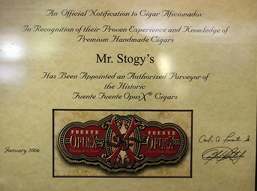 Mr. Stogy's Fuente Certification