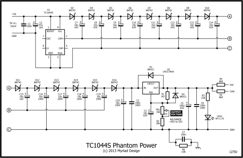 small resolution of here s the schematic 127sv p48 phantom power from 9v