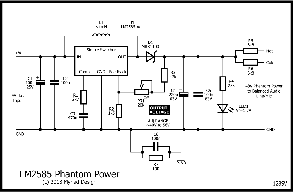 P48 Phantom power from 9V d.c.