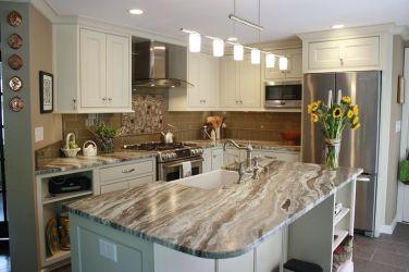 fantasy brown quartzite granite countertops kitchen leathered beige ocean countertop dark stone backsplash kitchens tile cabinets island farmhouse transitional cherry