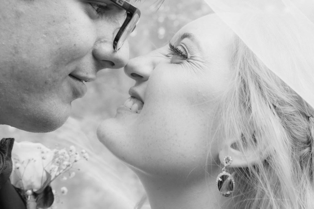 Bride And Groom Under Bridal Veil