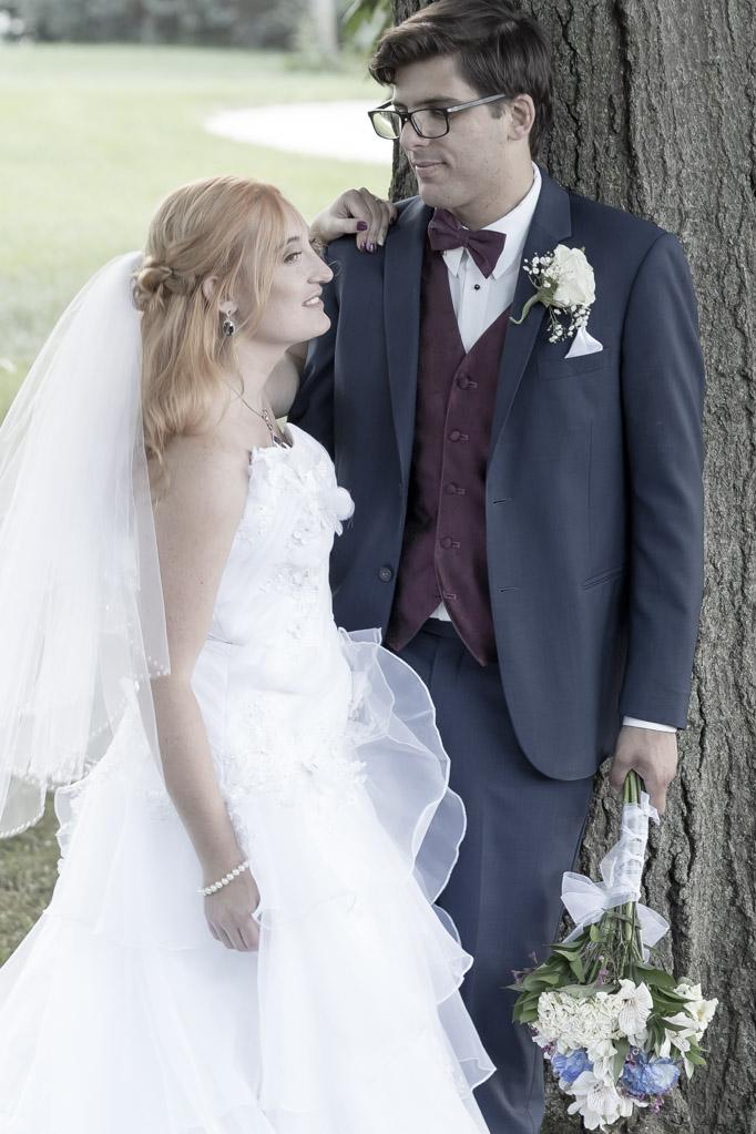 Stylish Bride And Groom Under Tree, Oak Arbor Church, Rochester, MI