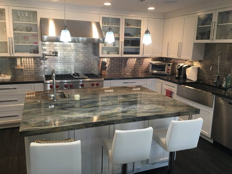 white kitchen island with granite top designer wall tiles modern countertop - stone design by santos