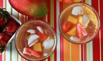 This tastes just as good as it smells! And since mangoes and strawberries promote healthy eyes, you'll be giving your eyesight some much needed nutrients while sitting in front of a screen all day. You'll Need Mix together 6 cups water, 1 cubed, fresh mango, and ½ cup strawberries. Steep in fridge for 4 hours and serve cold.