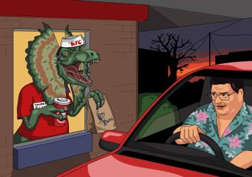 Dear Jim, Can you paint Dennis Nedry deciding to fuck Jurassic Park off and get some KFC instead. Unfortunately for him the KFC employee who serves him is an angry dilophosaurus. Cheers, Martin Vine