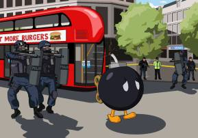 Hi Jim, can you please paint Bob-omb from Super Mario attempting to catch a London bus only to be met by an armed anti-terrorism police unit? Lauren Bickley