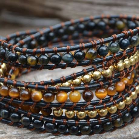 Stone Era bracelet, natural stone brown and blue tiger eye with copper stone manon tremblay ottawa