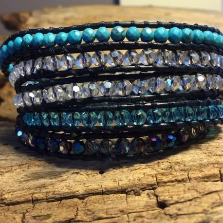 stone era handmade leather bracelet, ottawa manon tremblay, bliss turquoise.