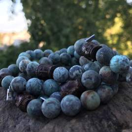 African Turquoise with wood Buddha (8mm for her)