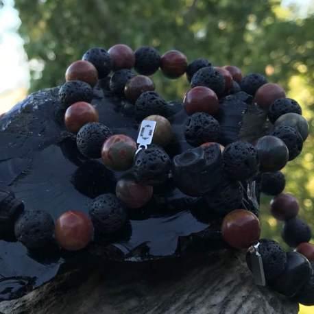 red jasper and lava manon tremblay ottawa natural stone bracelet for men