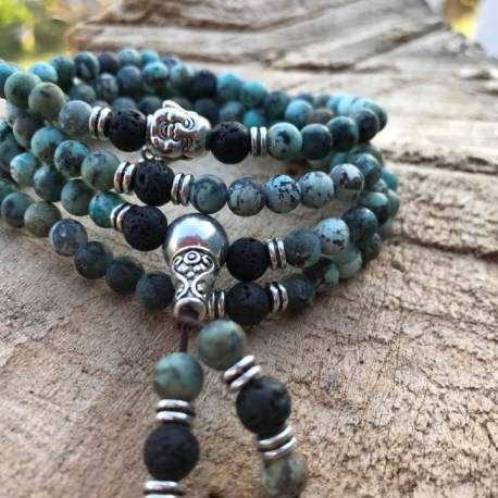 African turquoise and lava 108 bead mala stone era natural stone tibet
