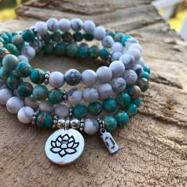 African Turquoise and white Turquoise mala lotus