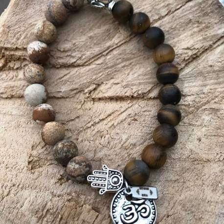 Vegan jasper and tiger OM for woman wood buddha manon tremblay ottawa handmade
