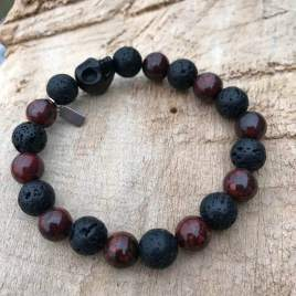 Grounded (red jasper and lava with skull) For Him