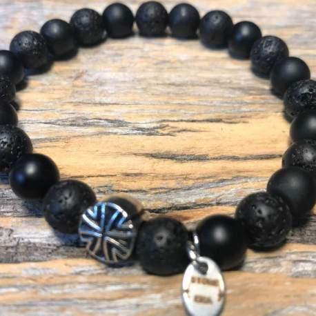 Shungite and lava stone era natural stone bracelet for him