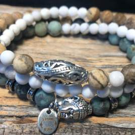 African and white turquoise with Jasper wrap
