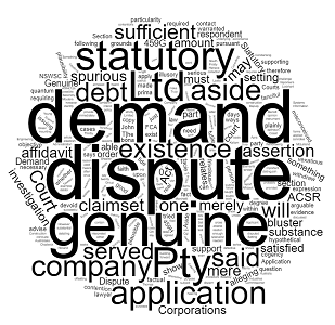 what is genuine dispute statutory demand lawyers