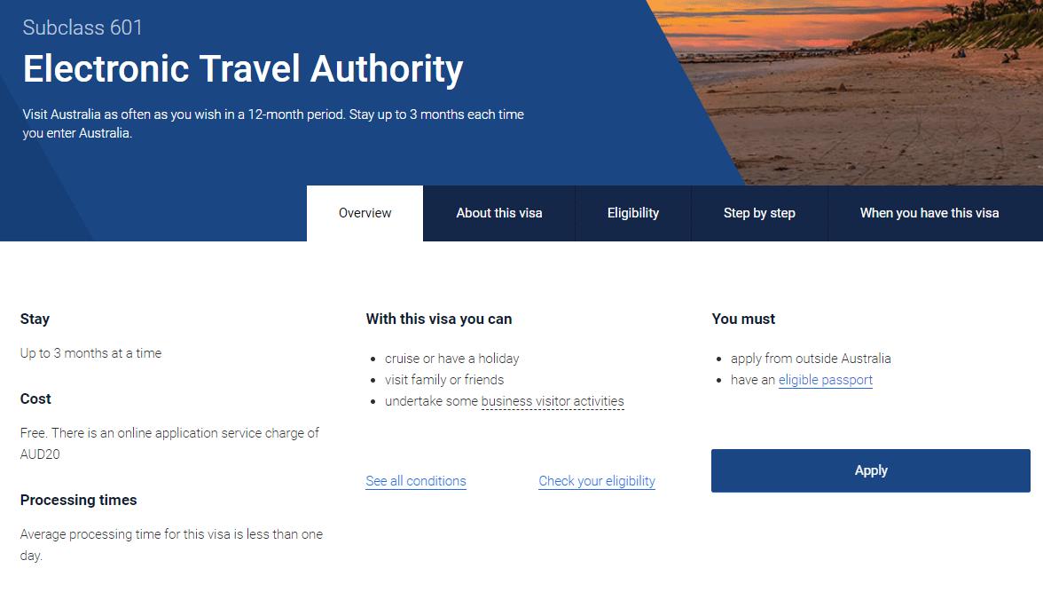 澳洲旅遊電子旅遊簽證(ETA)教學 | 石先生部落