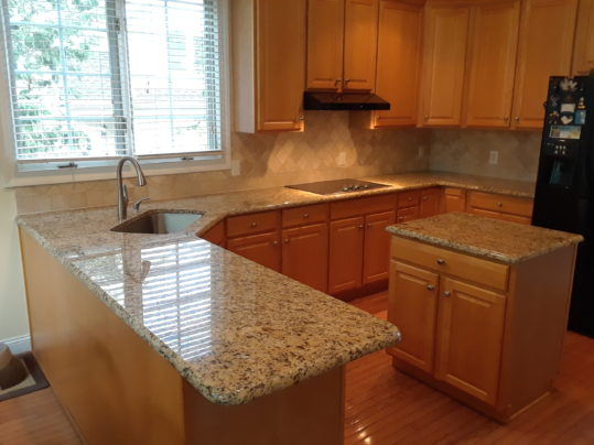 After removal, granite and tile