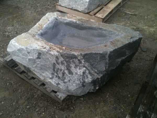 Reclaimed Granite Birdbath