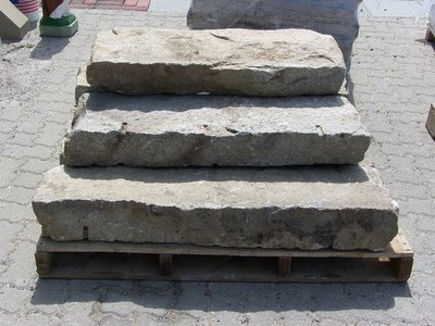 Reclaimed Granite Step Set with Granite Curbing