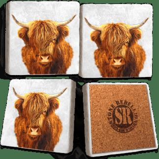 Highland Cow Marble Coaster Set
