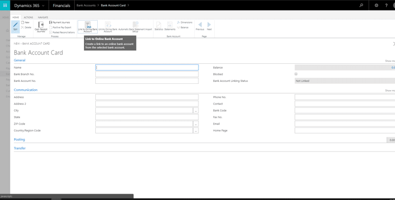 Linking Your Bank Account to Dynamics 365 Business Central