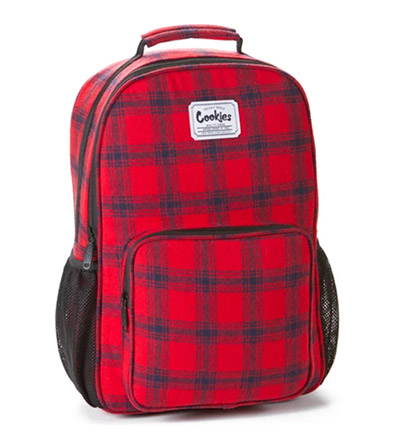 Cookies SF Smell Proof Red Camo Bungee Marijuana Dispensary Backpack Bag