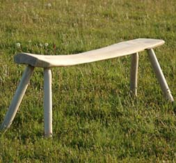 Green woodworking bench made by one of the tutors for Stones Cottages green woodworkng courses
