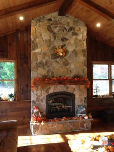 Mountain Stone Fireplace, Barn Beam Mantle With Stone Hearth
