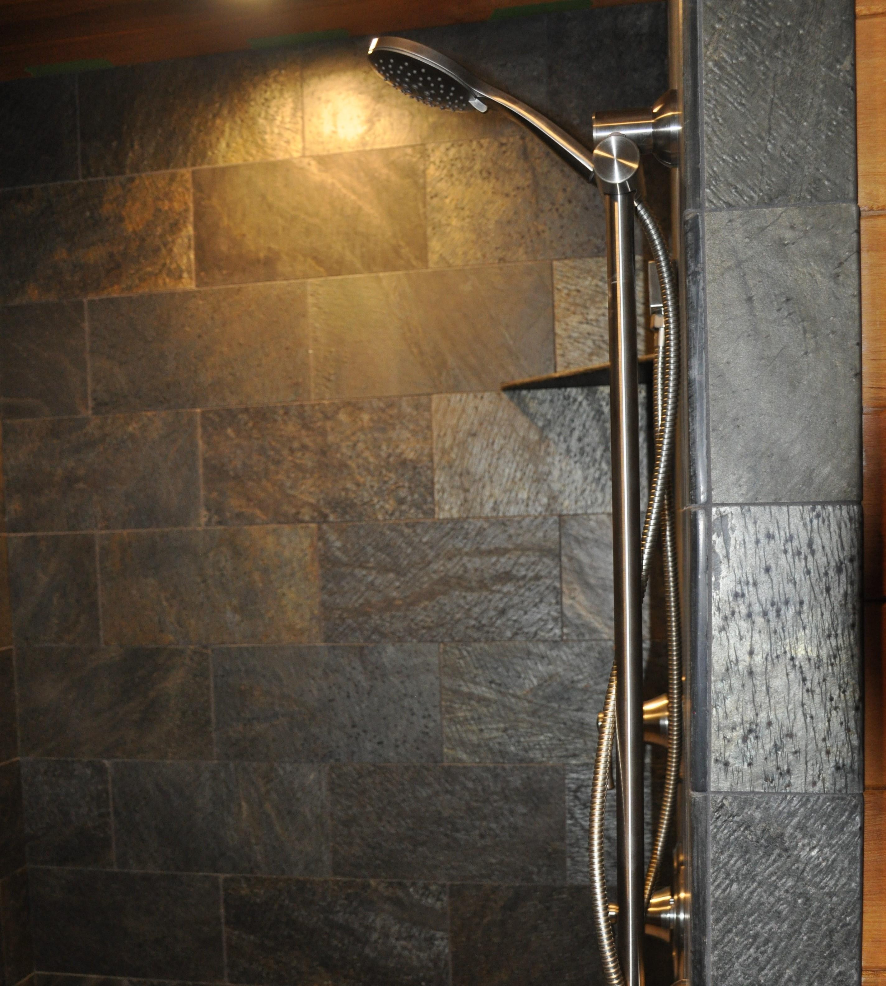 Stone tile showers