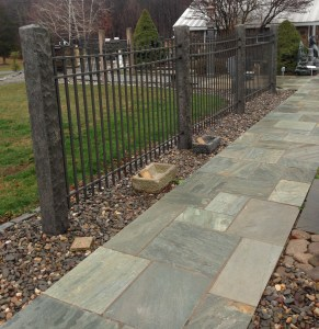 Stone Fence Posts With Natural Stone Pavers