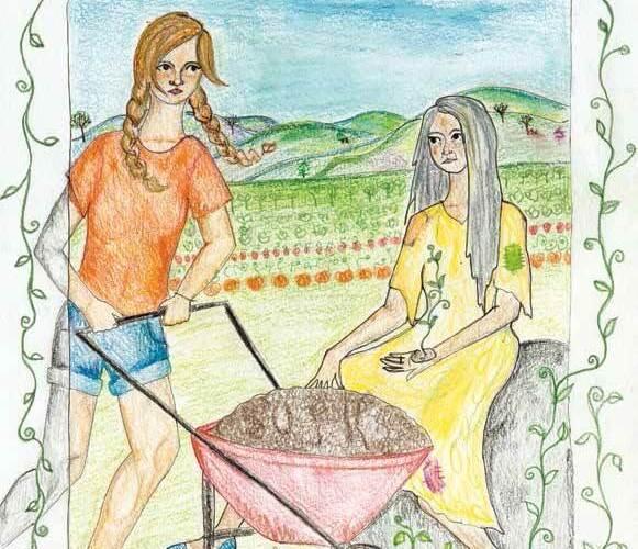 The Bean Plant pushing the wheel barrow